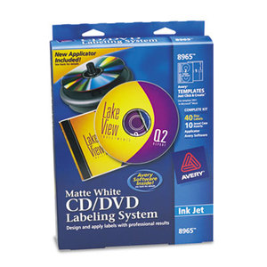 CD/DVD Design Labeling Kits, Matte White, 40 Inkjet Labels and 10 Inserts by AVERY-DENNISON