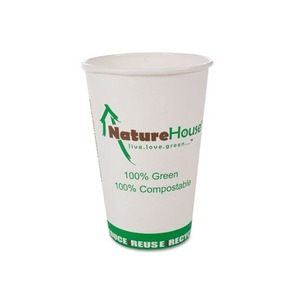 Compostable Live-Green Art Hot Cups, 12oz, White, 50/Pack by SAVANNAH SUPPLIES INC.