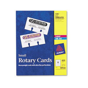 Avery 5385 Small Rotary Cards, Laser/Inkjet, 2 1/6 x 4, 8 Cards/Sheet, 400 Cards/Box by AVERY-DENNISON
