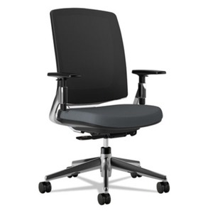 HON COMPANY H2283.VA19.PA Lota Series Mesh Mid-Back Work Chair, Charcoal Fabric, Polished Aluminum Base by HON COMPANY