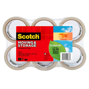 """3M 3650G6 Moving & Storage Tape, 1.88"""" x 42.2yds, Clear, 6/Pack by 3M/COMMERCIAL TAPE DIV."""