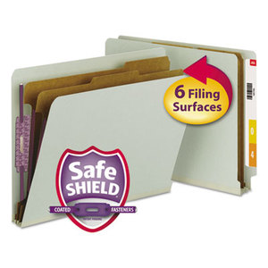 SMEAD MANUFACTURING COMPANY 26810 Pressboard End Tab Classification Folder, Letter, 6-Section, Gray/Green, 10/Box by SMEAD MANUFACTURING CO.