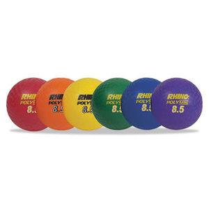 "CHAMPION SPORTS PX85SET Rhino Playground Ball Set, 8 1/2"" Diameter, Rubber, Assorted, 6 Balls/Set by CHAMPION SPORT"