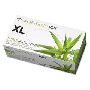 Medline Industries, Inc MDS195287 Aloetouch Ice Nitrile Exam Gloves, X-Large, Green, 180/Box by MEDLINE INDUSTRIES, INC.