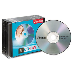 Imation Corp 40955 CD-RW Discs, 700MB/80min, 4x, w/Slim Jewel Cases, Silver, 10/Pack by IMATION