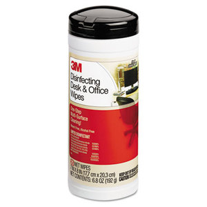 3M CL564 Disinfecting Desk & Office Wet Wipes, Cloth, 7 x 8, 25/Canister by 3M/COMMERCIAL TAPE DIV.