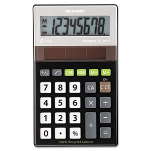 Sharp Electronics ELR277BBK EL-R277BBK Recycled Series Handheld Calculator, 8-Digit LCD by SHARP ELECTRONICS