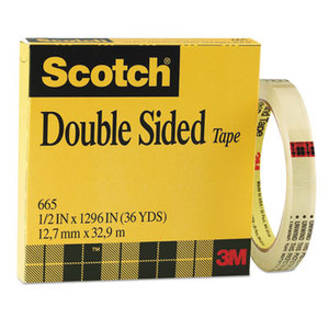 """3M 665121296 Double-Sided Tape, 1/2"""" x 1296"""", 3"""" Core, Clear by 3M/COMMERCIAL TAPE DIV."""