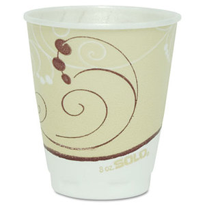 Symphony Design Trophy Foam Hot/Cold Drink Cups, 8oz, Beige, 100/Pack by SOLO CUPS
