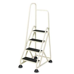 Cramer, Inc 1041L19 Four-Step Stop-Step Folding Aluminum Handrail Ladder, Beige by CRAMER