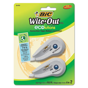 "BIC WOETP21 Wite-Out Ecolutions Mini Correction Tape, White, 1/5"" x 235"", 2/Pack by BIC CORP."