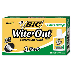 BIC WOFEC324 Wite-Out Extra Coverage Correction Fluid, 20 ml Bottle, White, 3/Pack by BIC CORP.