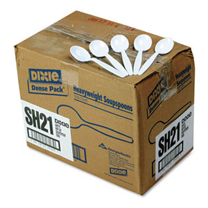 DIXIE FOOD SERVICE SH217 Plastic Cutlery, Heavyweight Soup Spoons, White, 1000/Carton by DIXIE FOOD SERVICE