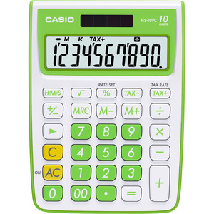 Casio Computer Co., Ltd MS-10VC-GN MS-10VC 10 Digit Desktop Calculator with Extra Large Display (Green)