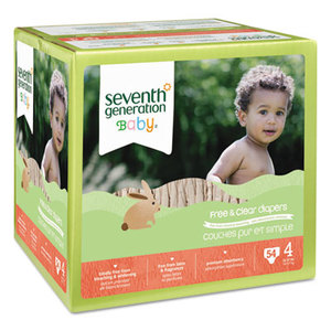 Seventh Generation, Inc SEV 44080 Baby Diapers, Stage 4, 22-37 lbs, Tan, 54/CT by SEVENTH GENERATION