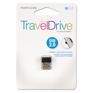MEMOREX 32-0200-2964-4 Micro TravelDrive USB 2.0 Flash Drive, 16 GB by MEMOREX