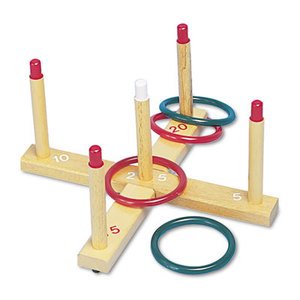 CHAMPION SPORTS QS1 Ring Toss Set, Plastic/Wood, Assorted Colors, 4 Rings/5 Pegs/Set by CHAMPION SPORT