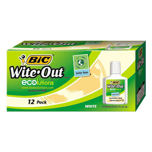 BIC WOFWB12 WHI Wite-Out Water-Based Correction Fluid, 20 ml Bottle, White by BIC CORP.