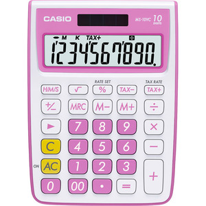 Casio Computer Co., Ltd MS-10VC-PK MS-10VC 10 Digit Desktop Calculator with Extra Large Display (Pink)
