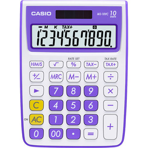 Casio Computer Co., Ltd MS-10VC-PL MS-10VC 10 Digit Desktop Calculator with Extra Large Display (Purple)