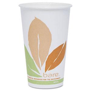 Bare PLA Hot Cups, White w/Leaf Design, 16oz, 300/Carton by SOLO CUPS
