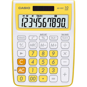 Casio Computer Co., Ltd MS-10VC-YW MS-10VC 10 Digit Desktop Calculator with Extra Large Display (Yellow)