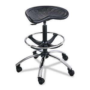 Safco Products 6660BL Sit-Star Stool with Footring & Caster, 27-36h Seat, Black/Chrome by SAFCO PRODUCTS