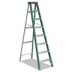 LOUISVILLE FS40-08 #592 Eight-Foot Folding Fiberglass Step Ladder, Green/Black by LOUISVILLE